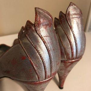 Vintage, handmade silver heels